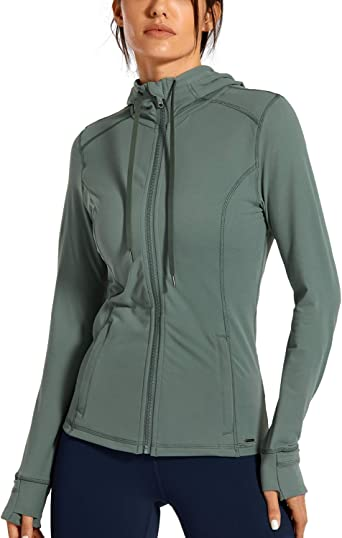 CRZ YOGA Womens Athletic Padded Vest Lightweight Full-Zip Sleeveless Jackets with Pockets