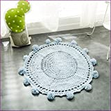 Blue Color Handmade Nordic Carpets Carpet Kids' Room Game Pad Coffee Table Area Rug Children Play Floor Mat Cute