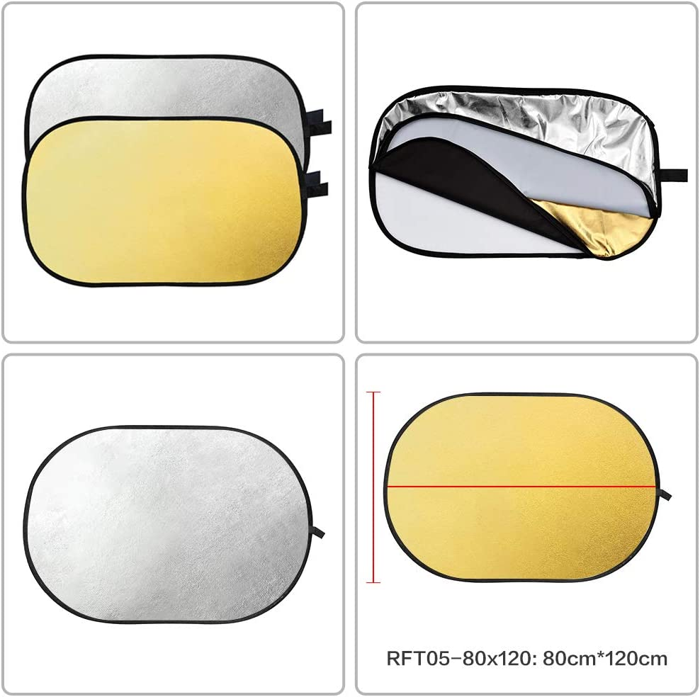 """Gold GODOX 24/""""x35/"""" 60 x 90cm 2-in-1 Collapsible Portable Disc Light Reflector with Bag for Studio and Photography Silver"""