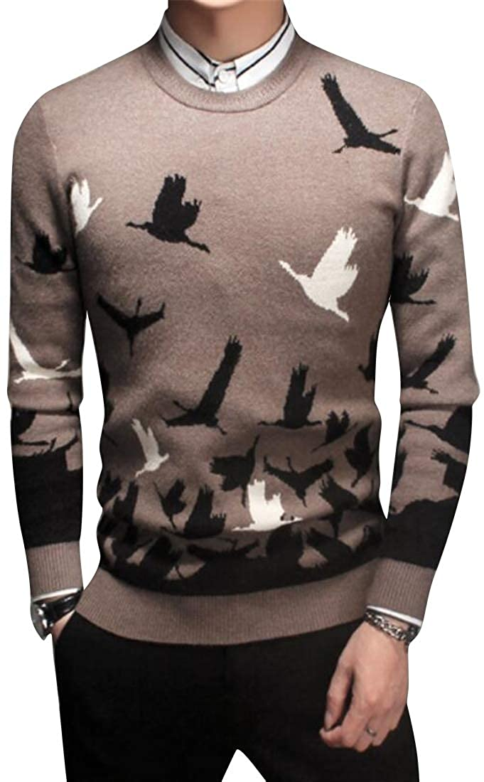 Fubotevic Mens Winter Knitting Long Sleeve Crew Neck Slim Fit Birds Pullover Sweater