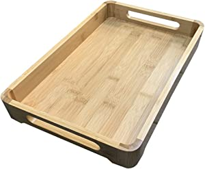Small Rectangular Elegant Butler Style Bamboo Serving Tray with Side Cut Handles - Great for Coffee, Tea, Food, Parties or Breakfast in Bed - 13.62 x 8.74 x 1.96 Inches