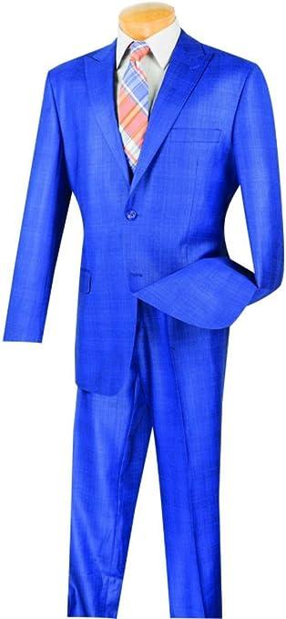 VINCI Mens Wool Feel 2 Botton Single Breated Glen Plaid Suit 2RW-1