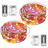 YIHONG 2 Set String Lights 8 Modes Fairy Lights 50 LED 16.4FT Fairy String Lights Battery Operated...