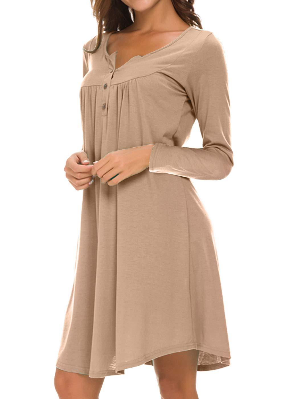 Eanklosco Long Sleeve Swing Dress Women Casual Loose Henley Shirt Dress (Light Coffee, S)
