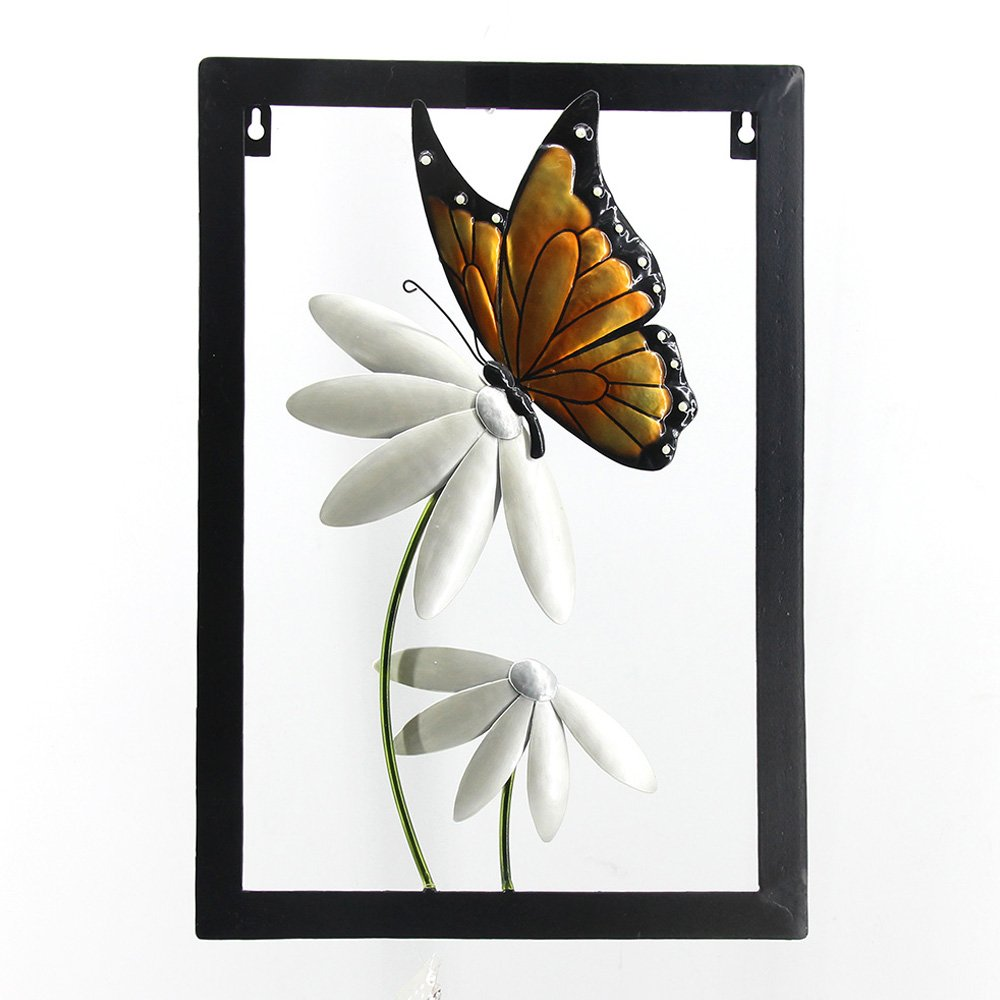 Comfy Hour 17'' Height Brown and Silvery Metal Art Framed Butterfly and Flower Wall Decor