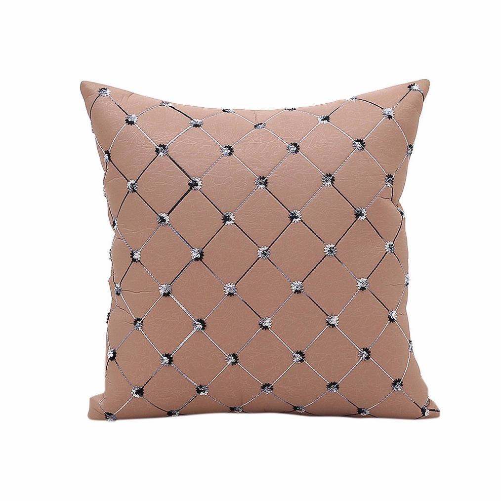 Leyorie Embroidery Lattice Pillowcase Home Sofa Bed Decor Plaids Throw Pillow Case Square Cushion Cover (Khaki)