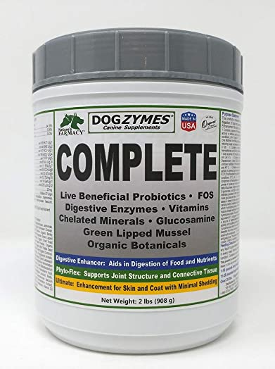 Dogzymes Complete – Probiotics, Prebiotics, Glucosamine, Chondroitin, MSM and Hyaluronic Acid, Complete Skin and Coat Care
