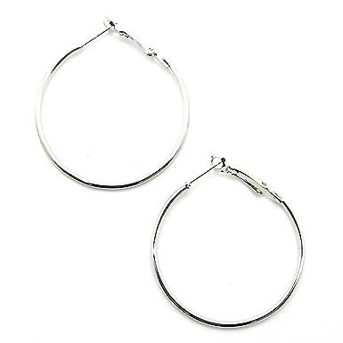 1 Paar Modeschmuck Creolen Silberfarben 8cm