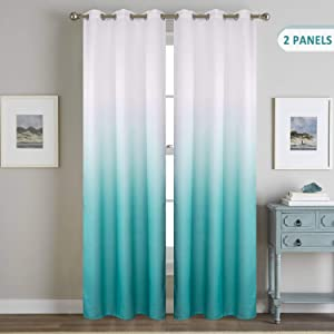 Ombre Room Darkening Window Curtains Set of 2 Panels Thermal Insulated Blackout Grommet Window Treatments 84 Inches Long Turquoise Gradient Linen Look Drapes and Curtains for Kids Bedroom Living Room