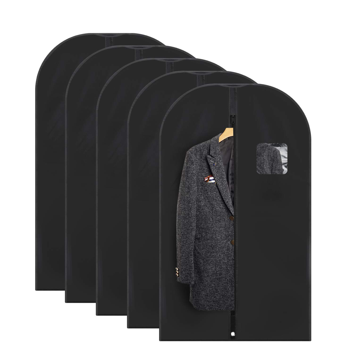 Fu Global Garment Bag Covers for Luggage, Dresses, Linens, Storage or Travel 42'' Suit Bag with Clear Window Pack of 5