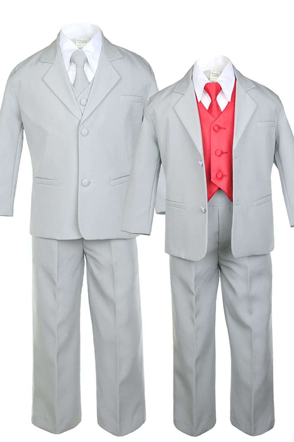 Unotux 7pc Boys Silver Suit with Satin Red Vest Set from Baby to Teen