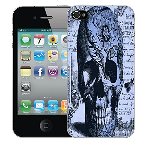Mobile Case Mate iPhone 5 5s clip on Dur Coque couverture case cover Pare-chocs - blue periodical skull Motif avec Stylet