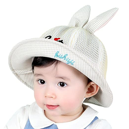 dc37d9bdc99 Vinjeely Toddler Baby Girls Backet Hat Ears Plaid Sun Basin Cap Beach Sunhat  0-2
