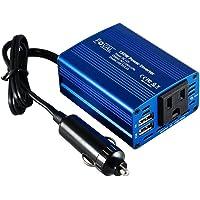 Foval 150W inversor de corriente DC 12V a 110V AC convertidor con 3.1A Dual USB cargador de coche