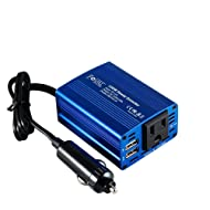 Foval 150W Power Inverter DC 12V to 110V AC Converter with 3.1A Dual USB Car