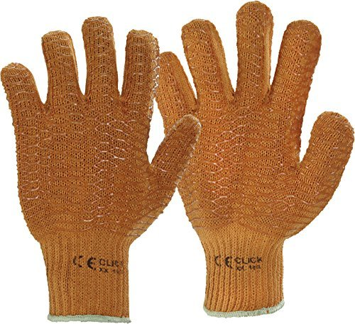 10 Pairs Click 2000 XX Orange Criss Cross Grip Multi Purpose Work Gloves by Spire Click ()