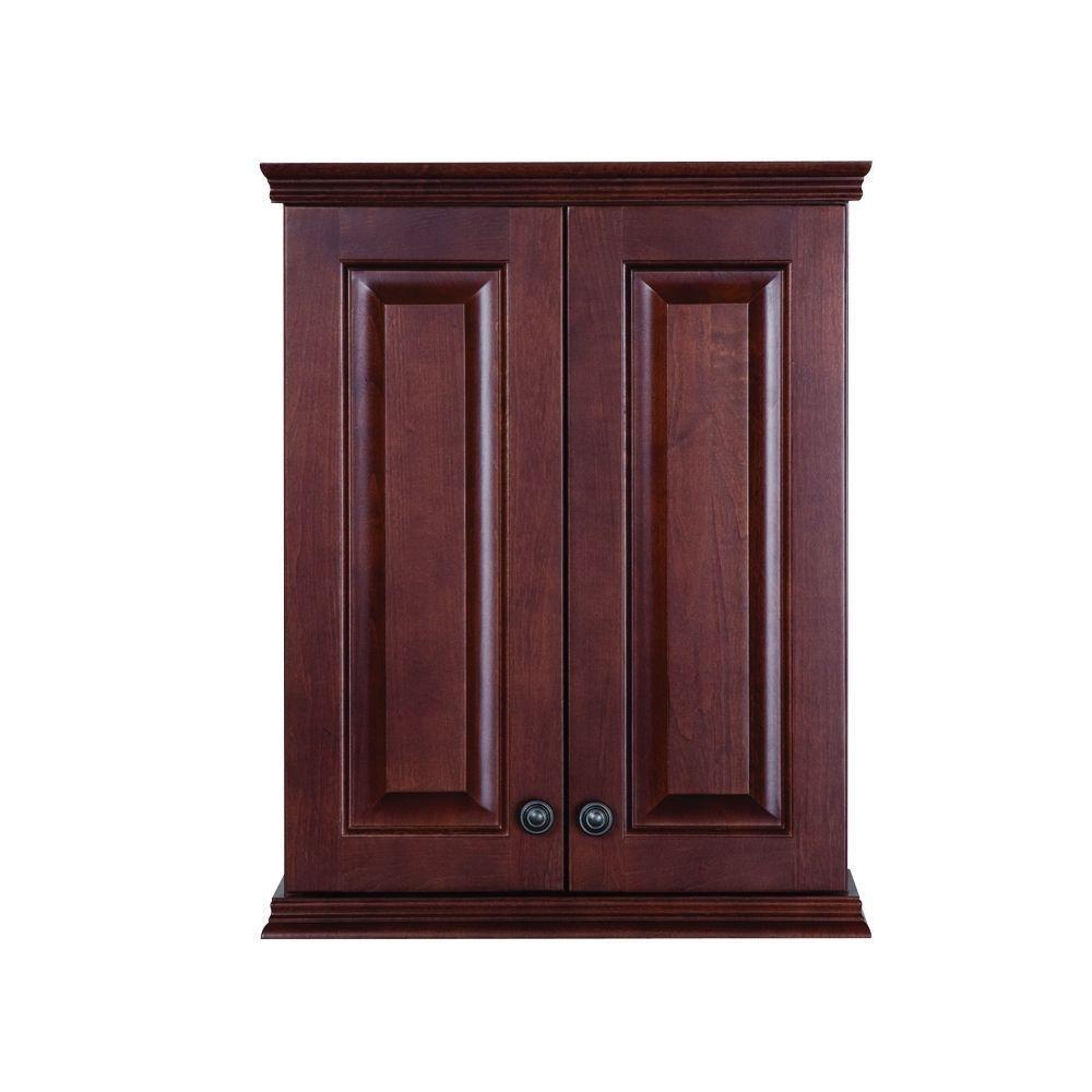 Summit Rich Auburn Bathroom Wall Mounted Vanity Storage Cabinet Amazon Com