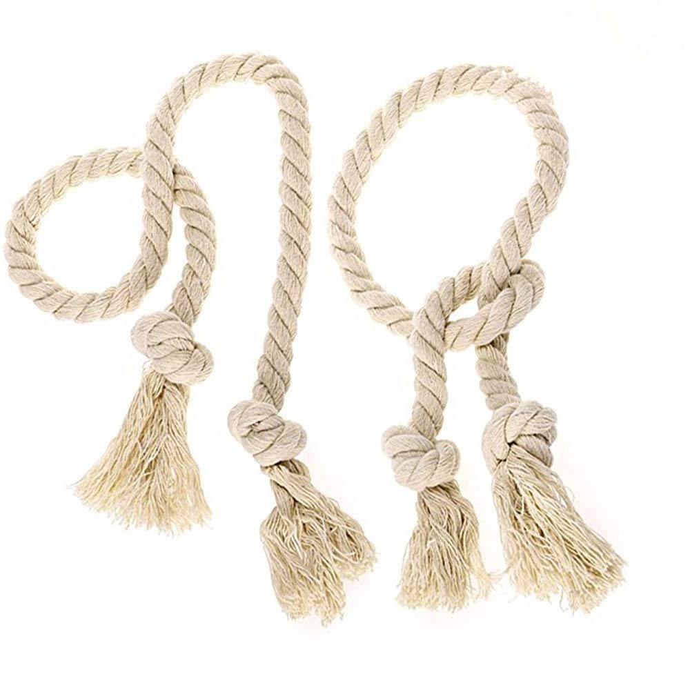 Tuu 2 Pcs Handmade Curtain Tiebacks Exquisite Natural Cotton Curtain Rope Tieback Country Style Decorative Curtain (Beige)