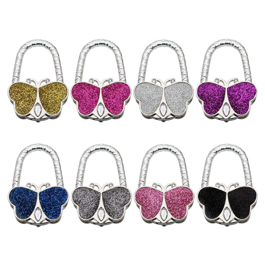 Tofover Purse Hooks, Set of 8Pcs Foldable Shimmery Metal Butterfly Shape Handbag Bag Purse Hanger Crystal Table Hook Holder by Tofover