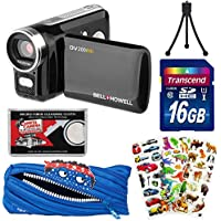 Bell & Howell DV200HD HD Video Camera Camcorder with Built-in Video Light with 16GB Card + Monstar Pouch Case + Puffy Stickers + Tripod + Kit