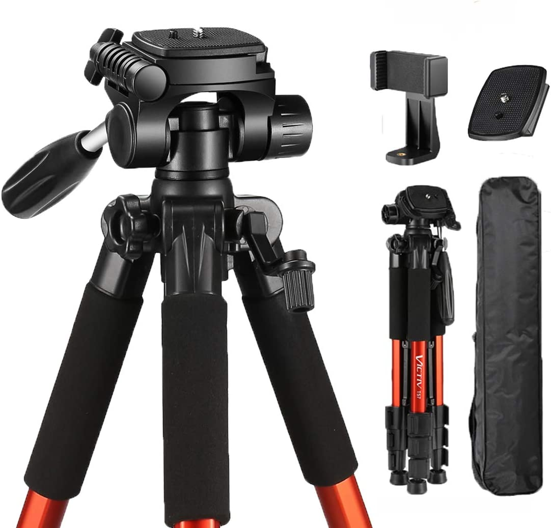 Camera Tripod, Victiv Lightweight Tripod Aluminum for DSLR Camera Smartphone, with Phone Tripod Adapter and 2 Quick Release Plates Ideal for Travel and Group Picture - Orange