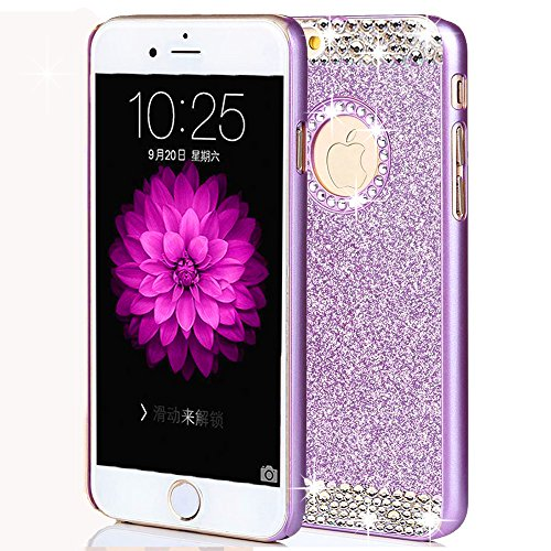 iphone 7 Plus Case,ARSUE (TM) Luxury Hybrid Beauty Crystal Rhinestone With Gold Sparkle Glitter PC Hard Protective Diamond Case Cover For iphone 7 Plus [5.5inch] (Purple / Bling)