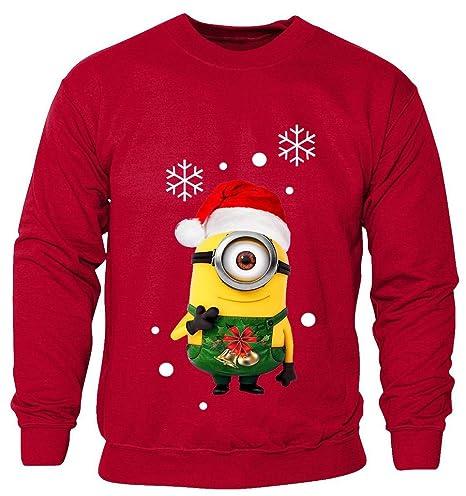 Boys Girls Children Christmas Kids Xmas Novelty Minions Print Sweater Jumper TOP