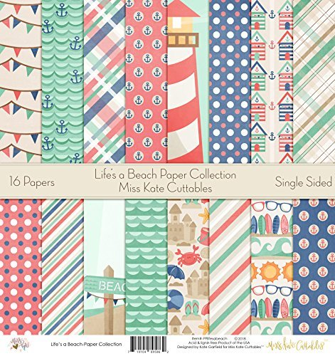 Pattern Paper Pack - Life's a Beach - Scrapbook Premium Specialty Paper Single-Sided 12
