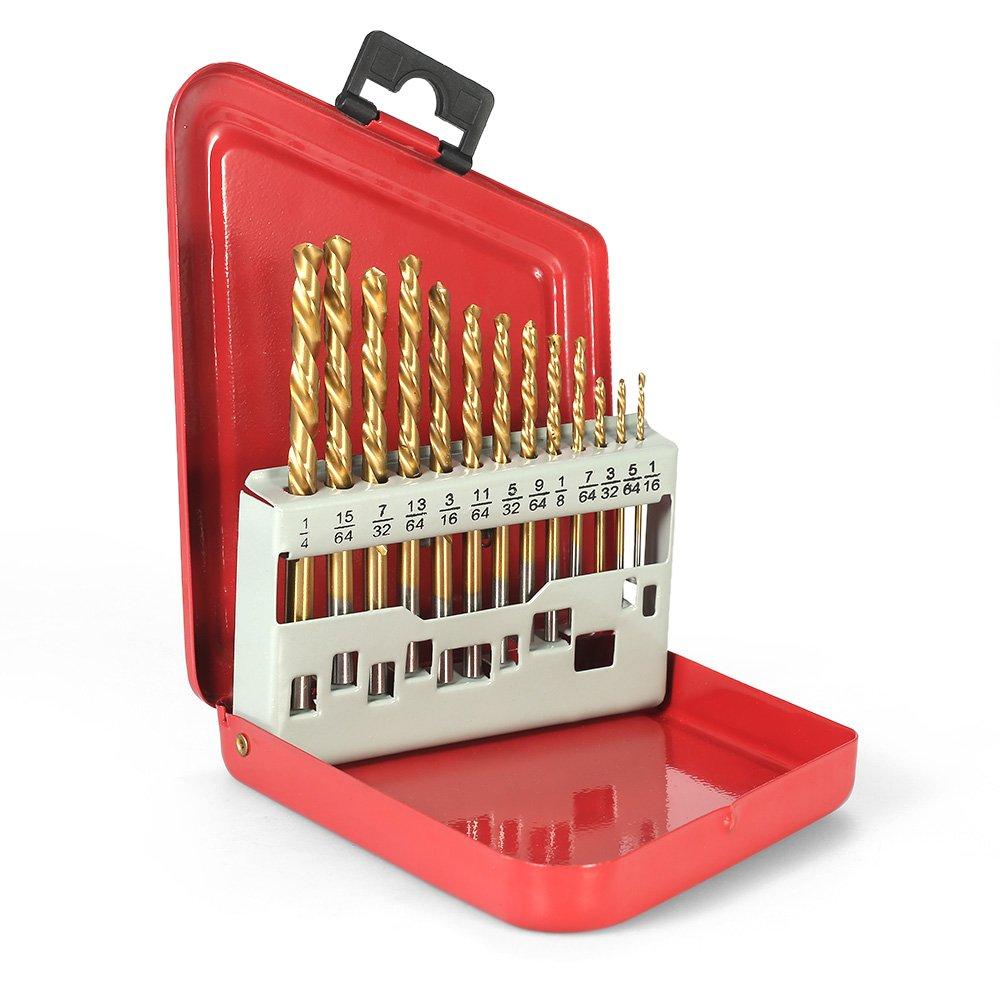 1//16-1//4 KKmoon 13pcs Left Handed Drill Bit Set M2 HSS with Titanium Nitride Coating