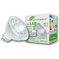 greenandco® LED-spot vervangt 25 Watt MR16 GU5.3 halogeenspot, 3W 240 lumen 2700K warm wit 38° 12V AC/DC, niet dimbaar