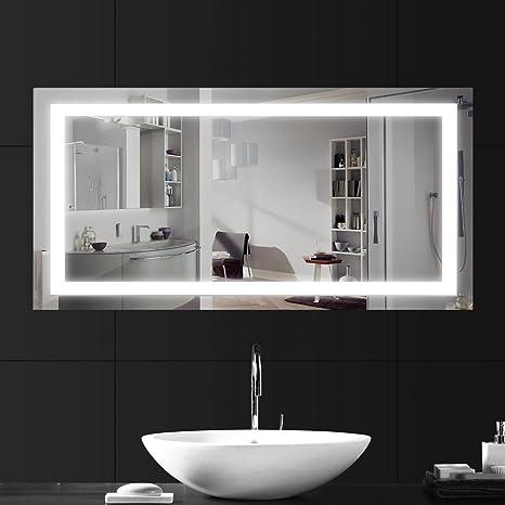 LEBRIGHT Miroir Salle Bain 100x60cm 23W lampe miroir salle de bain led,  Miroir LED Lampe de Miroir Éclairage Salle de Bain Miroir Lumineux Solide  de ...