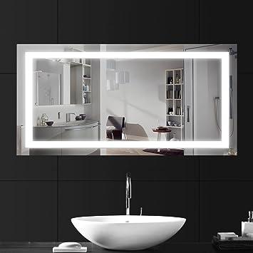 LEBRIGHT Badspiegel Beleuchtung 100x60cm 23W LED Badspiegel Spiegelleuchte  Wandspiegel Lichtspiegel mit Schalter, Silber Wand montiert Spiegel Licht  ...