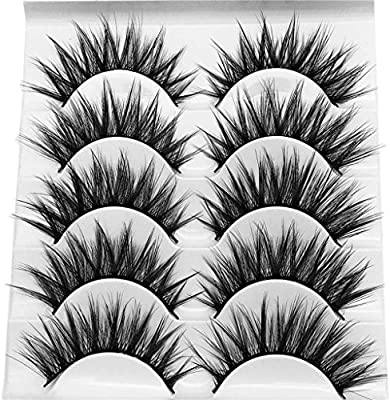 cef105aa536 Amazon.com : WENSY imitation water mane 5 pairs of 3D artificial natural  fiber waterproof thick eyelash eye beauty cosmetics : Beauty