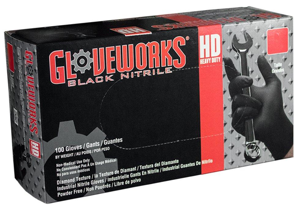 AMMEX - GWBN44100-BX - Nitrile Gloves - Gloveworks - HD, Disposable, Powder Free, Latex Rubber Free, 6 mil, Medium, Black (Box of 100)
