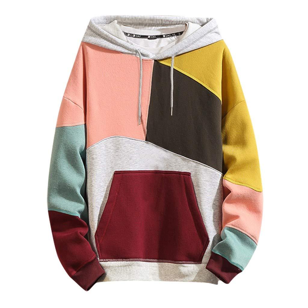 VZEXA Mens Hoodies Hooded Color Block Patchwork Sweatshirt Long Sleeve Pocket Drawstring Tops Yellow by VZEXA