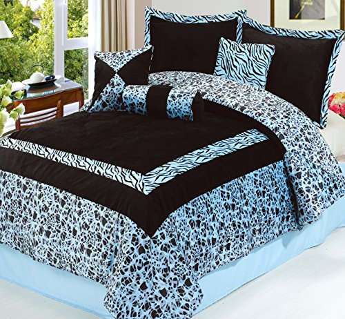 Dovedote Safarina Zebra Animal Print Comforter Set, King - Blue (Comforter Polyester Zebra)