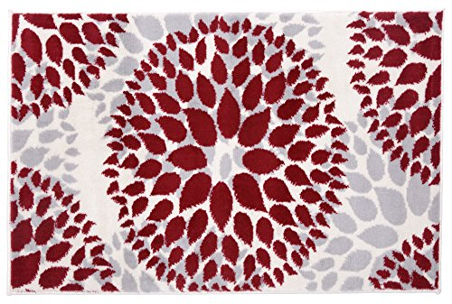 Rugshop Modern Floral Circles Design Area Rug, 2' x 3', Red ()