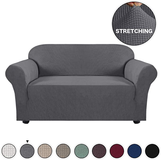 Turquoize High Stretch Loveseat Cover 1 Piece Stylish Furniture Cover/Protector with Jacquard Checked Sofa Cover Anti-Slip Foams, Machine Washable Loveseat Covers for Living Room(2 Seater, Gray)