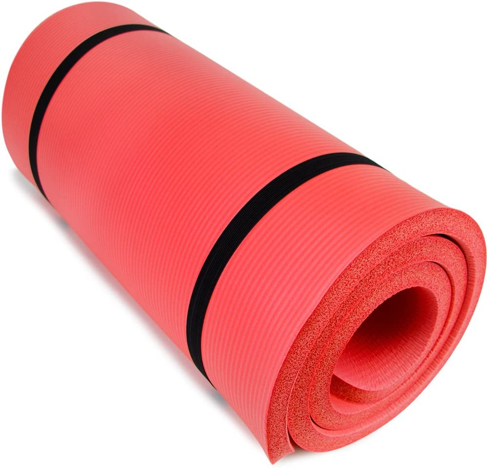"""Yoga Cloud - Extra Thick 1"""" Exercise Mat with Shoulder Sling - 25mm Non-slip, Moisture-Resistant Foam Cushion for Pilates and Working Out - Ultra Balance & Support for Joint Health, & Physical Therapy"""