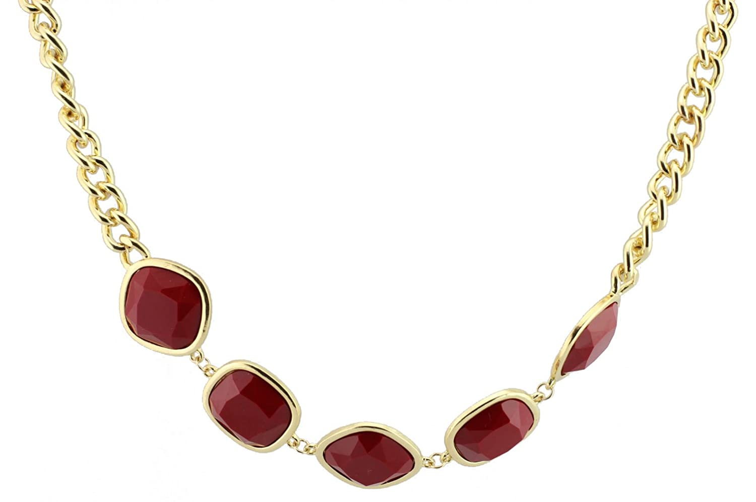 FUNDAISY 5 Stones Chain Bib Statement Necklace - Wine Red- Waist Chain/Necklace Fun Daisy Jewelry KSN0008