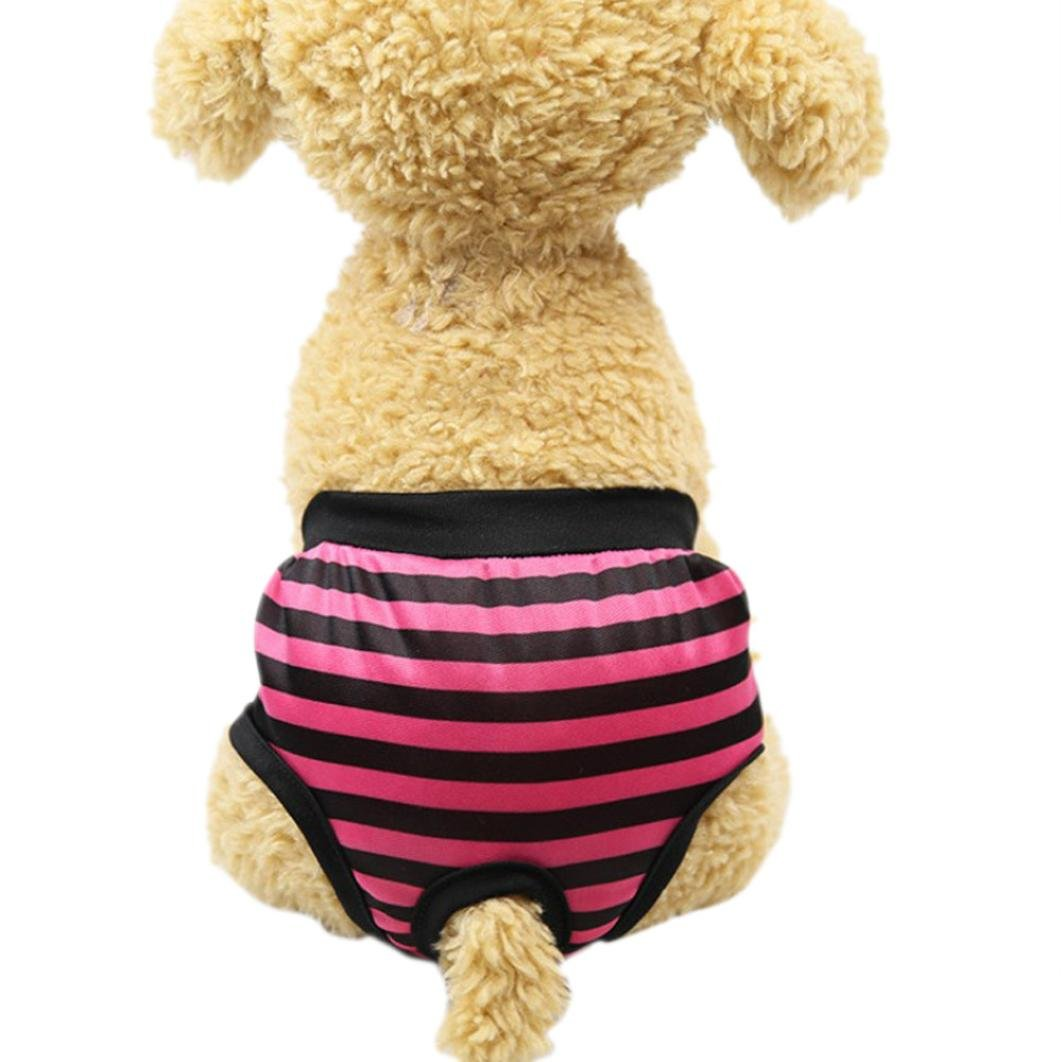 Sunward Reusable Female Dog Diaper Durable Doggie Diapers Pants Sanitary Pants Underwear Panty for Pet Dog Puppy Teddy (Hot Pink, S)