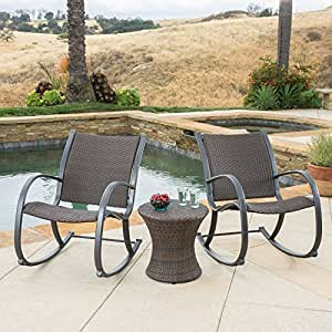 Best Selling Home Decor Gracies Wicker 3 Piece Patio Bistro Set 2 Rocking Chairs