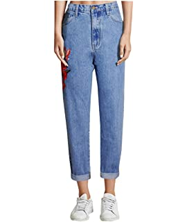 Lyamazing Women Mom Jeans Mid Low Waist Denim Skinny Ankle Straight Plus Size Pant