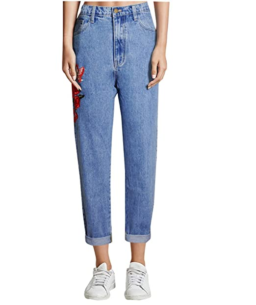 f60af07cd336e Lyamazing Women`s Boyfriends Mom Jeans High Waisted Floral Jeans ...