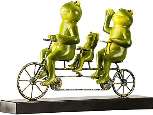 DONGLU Sculpture Statue Of Bicycle Frog Ornament Resin