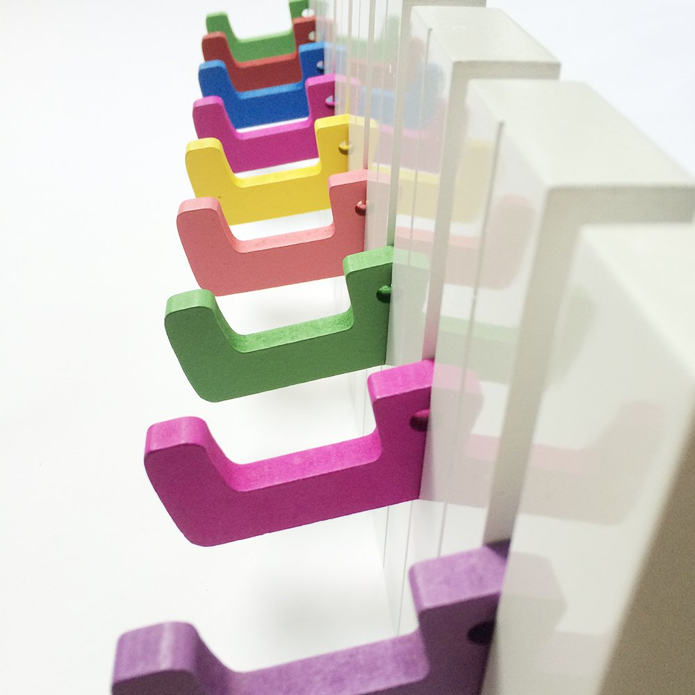 yazi Wall Mounted Coat Rack Piano Keyboard Design Clothes Bag Rack Hanger Multicolor