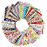 RayLineDo 60 Pcs Fabric Cotton 100% Printed Boundle Patchwork Squares of 10*10cm