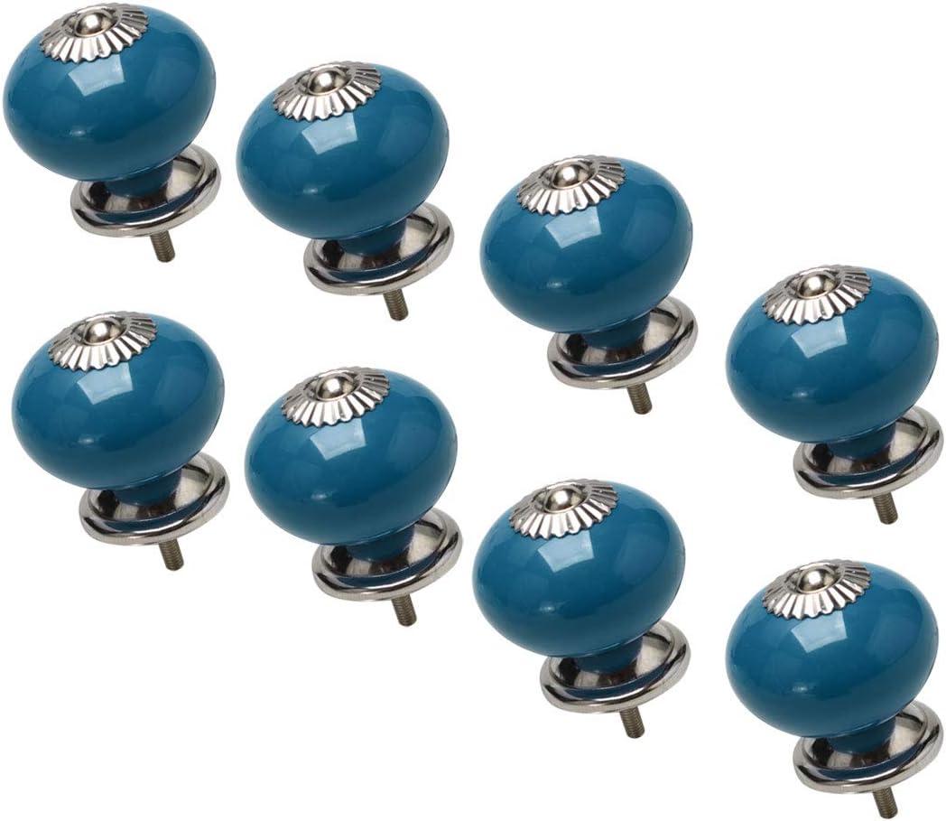 azul Maikehome Pomos de cer/ámica vintage con tirador redondo para muebles y cajones