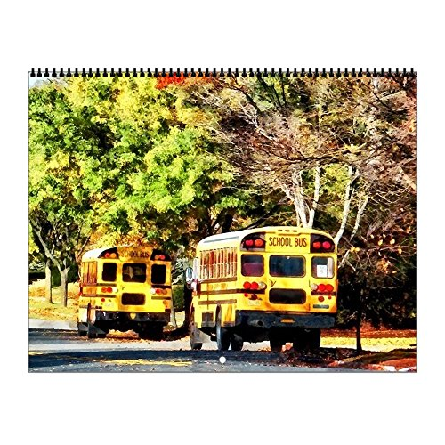 CafePress - Parked School Buses - 2017 Wall Calendar, Qualit