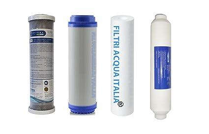 Juego 4 filtros para purificador agua ósmosis inversa filtriacquaitalia®